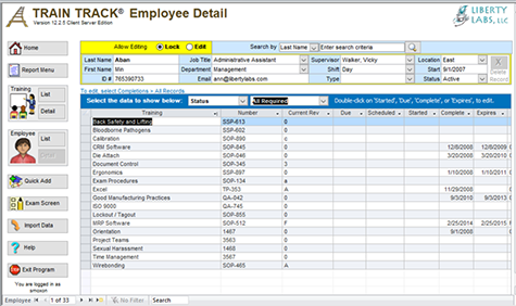 Employee detail screen